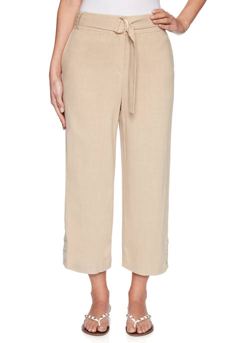 Womens Belted Fly Front Linen Capri Pants with Button Hem
