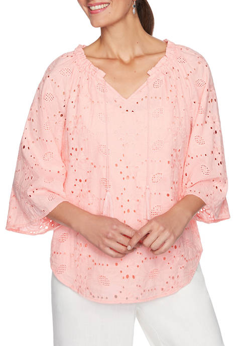 Ruby Rd Womens Delicate Lined Floral Eyelet Top
