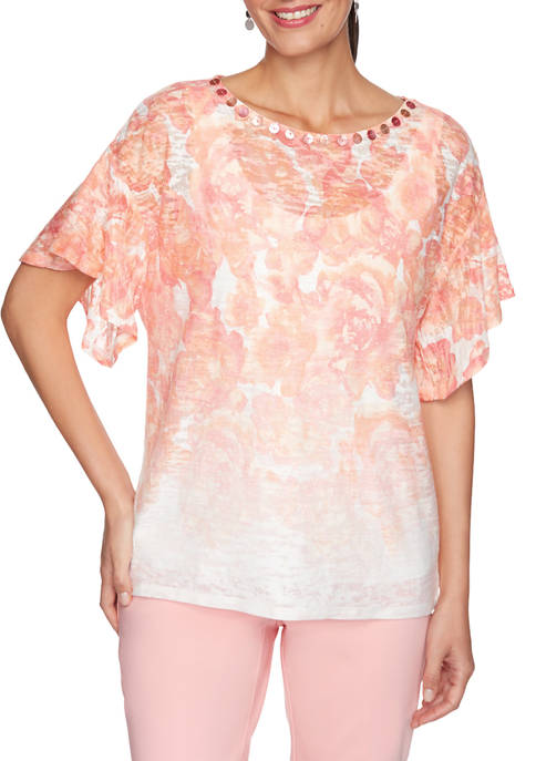 Womens Embellished Tropical Printed Handkerchief Top