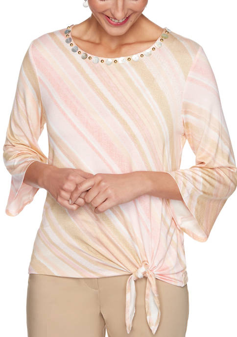 Womens Embellished Diagonal Stripe Top