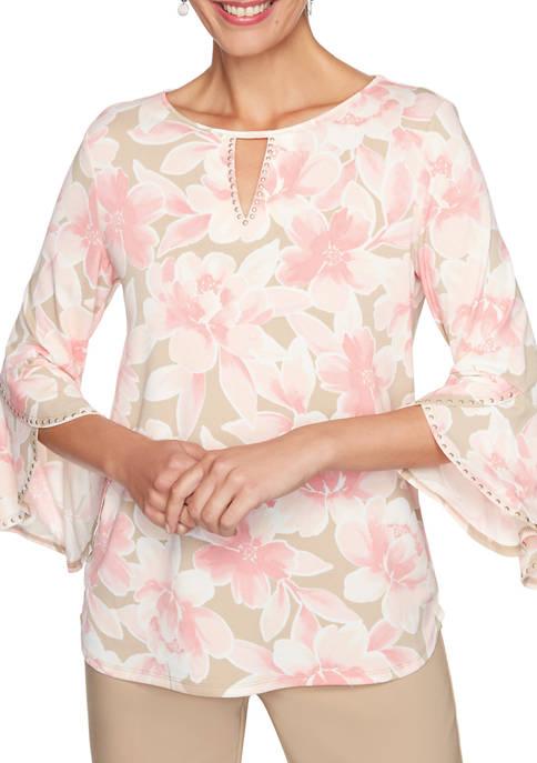 Womens Embellished Floral Split Neck Top