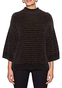 Wild Side Metallic Striped Pullover Sweater