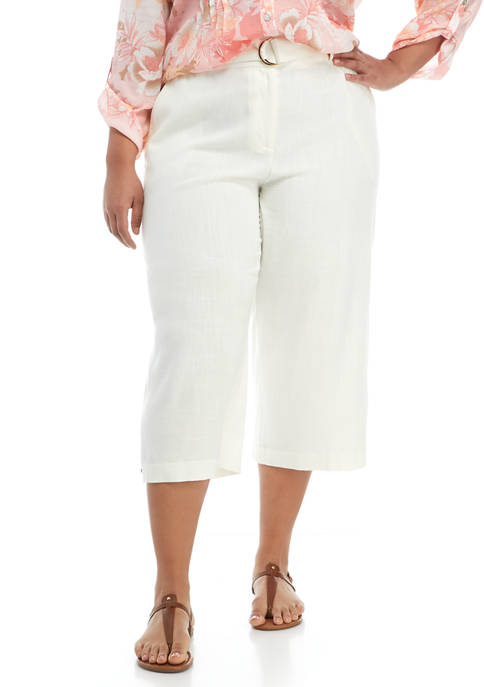 Plus Size Floral Notes Belted Silky Pants