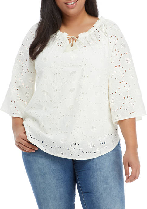 Plus Size Floral Notes 3/4 Sleeve Eyelet Top