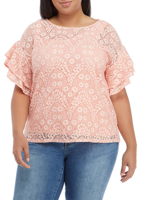 Plus Size Floral Notes Flutter Sleeve Top