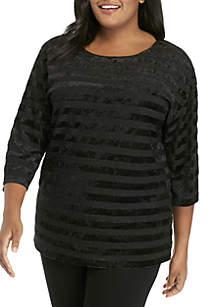 Plus Size Wild Side Velvet Striped Metallic Knit Top