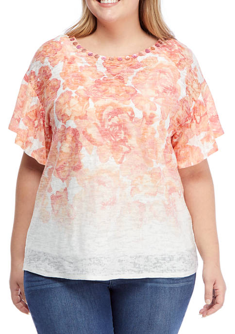 Plus Size Embellished Tropical Printed Handkerchief Top
