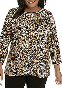 Plus Size Wild Side Cheetah Printed Knit Top