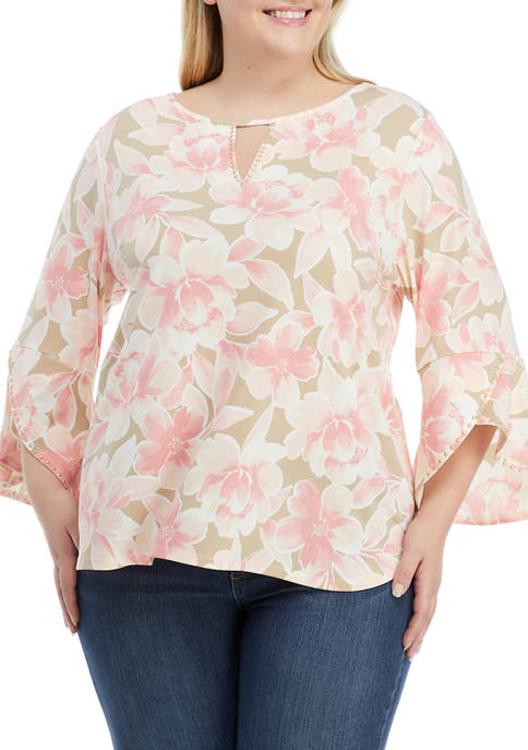 Ruby Rd Plus Size Floral Notes 3/4 Tulip