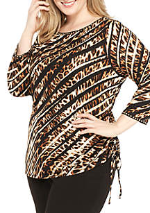 Plus Size Safari Knit Top with Side Ruching