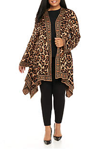 Plus Size Leopard Jacquard Cardigan