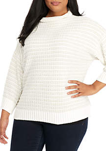Plus Size Metallic Striped Pullover Sweater