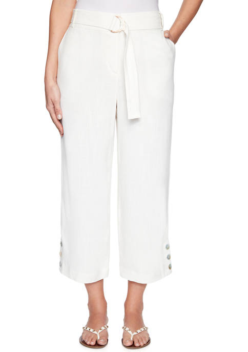 Petite Floral Notes Belted Fly-Front Linen Capris with Button Hem