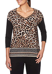 Petite Wild Side Geometric Leopard Woven Top
