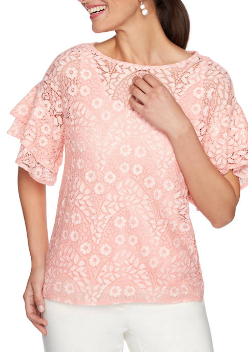 Ruby Rd Petite Floral Notes Elbow Flutter Sleeve