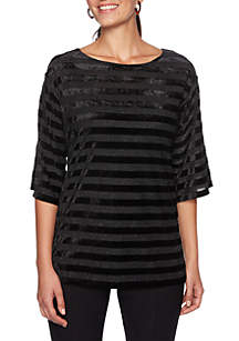 Petite Wild Side Velvet Striped Metallic Knit Top