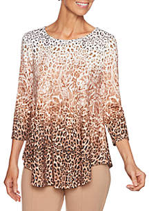 Petite Wild Side Paisley Hacci Knit Top
