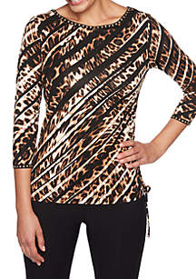 Petite Wild Side Safari Knit Top with Side Ruching