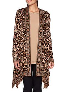 Petite Wild Side Leopard Jacquard Cardigan