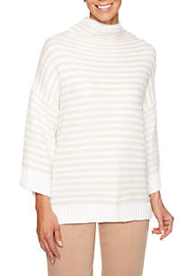 Petite Wild Side Metallic Striped Pullover