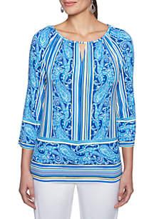 Capri Cool Stripe Paisley Knit Top