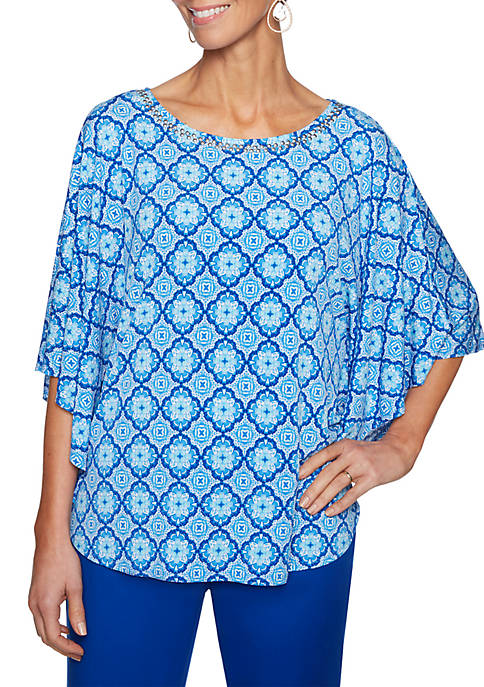 Ruby Rd Capri Cool Medallion Printed Butterfly Sleeve