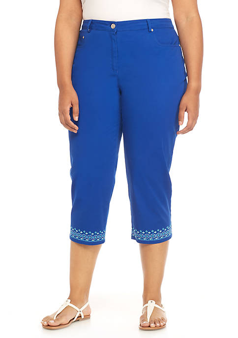 Ruby Rd Plus Size Embroidered Hem Capri Pants