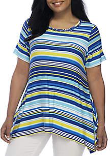 Embroidered Sharkbite Hem Stripe Knit Top