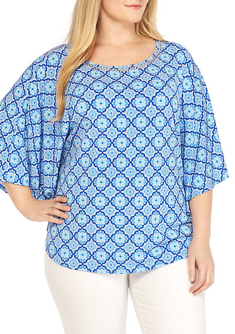 Ruby Rd Plus Size Capri Cool Medallion Print