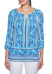 Petite Size Capri Cool Striped Paisley Knit Top