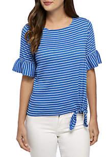 Petite Size Stripe Tie Front Knit Tee