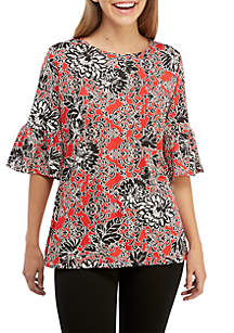 Knit Floral Tunic Top