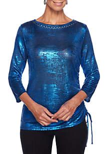 Foil Side Ruched Knit Top
