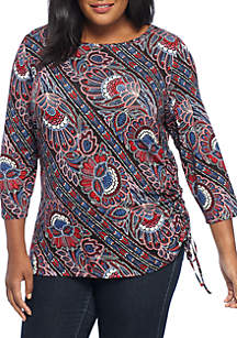 Plus Size Folk Floral Side Ruched Knit Top