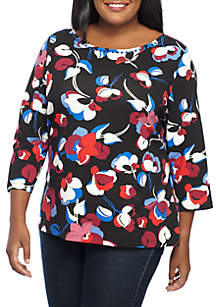 Plus Size Flutter Floral Knit Top