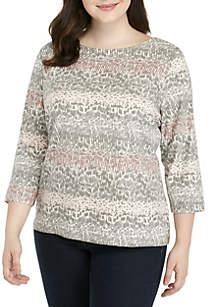 Plus Size Pebble Striped Knit Top