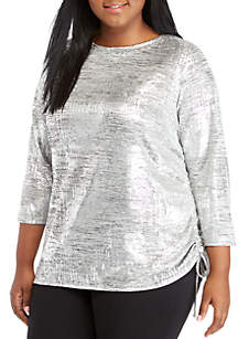Plus Size Foil Side-Ruched Top