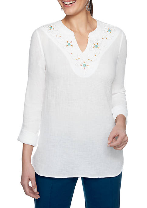 Ruby Rd Swept Away Embroidered Soft Gauze Top