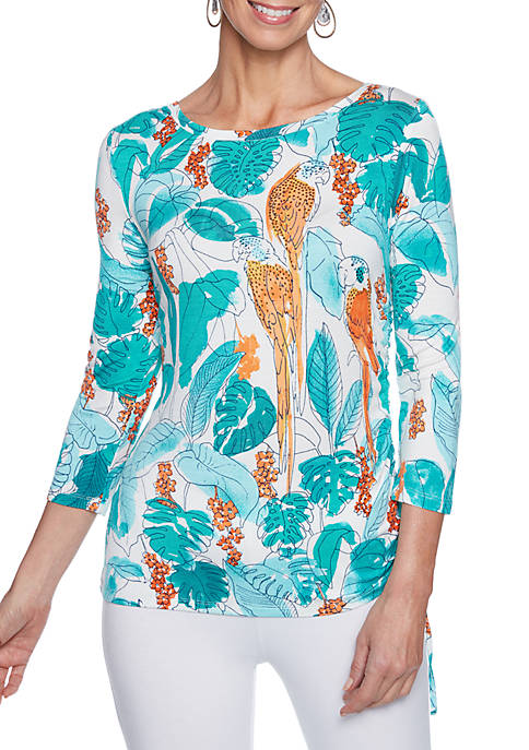 Ruby Rd Swept Away Parrot Print Embroidered Neck