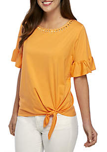 Swept Away Solid Tie Front Embroidered Neck Top