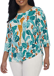 Plus Size Parrot Embellished Neck Top With Side Ruch