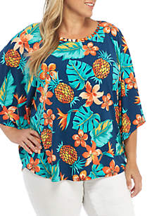 Plus Size Pineapple Embroidered Neck Knit Top