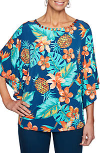 Petite Size Swept Away Pineapple Knit Top