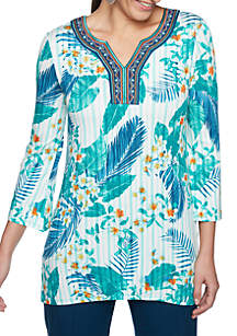 Petite Swept Away Tropical Stripe Embellished Neck Top