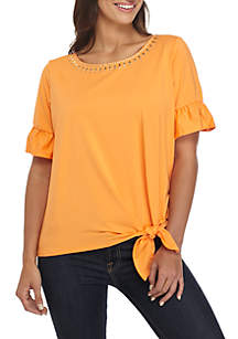 Petite Swept Away Solid Tie Front Top with Embroidered Neck