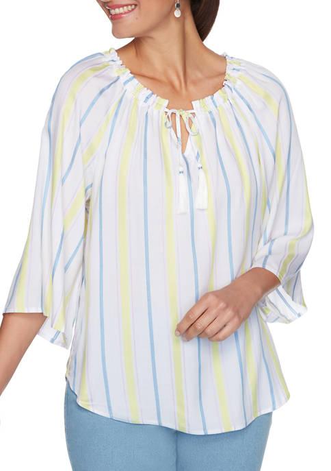 Womens Split Neck Striped Tassel Top