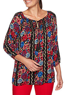 Velvet Crush Embellished Tassel Floral Printed Top