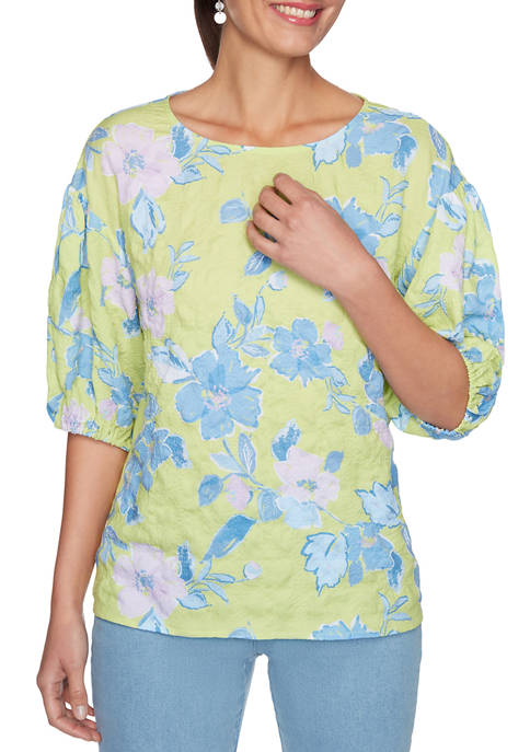 Womens Floral Puckered Textured Puff Sleeve Top