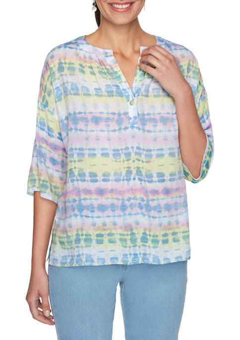 Womens Split Neck Watercolor Tie Dye Top
