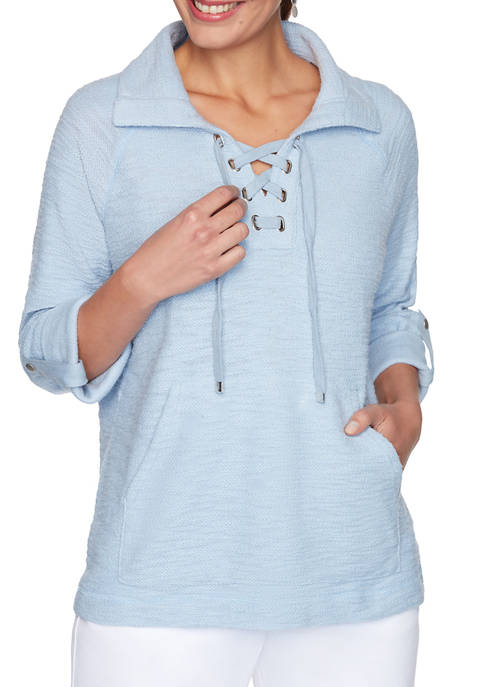 Womens Sporty Solid Knit Lace Up Pullover